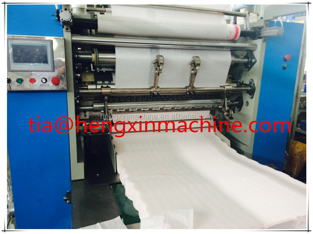 Facial paper tissue folding and cutting and packing production line machine