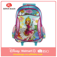 2016 Flower Girl Fashion Trolley School Bag With Shinning Lights for Teens