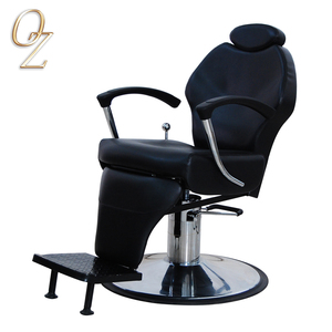 High Quality Real Leather Barber Salon Chair Classic Beard Shaving Chairs With Footrest Wholesale Barbershop Furniture