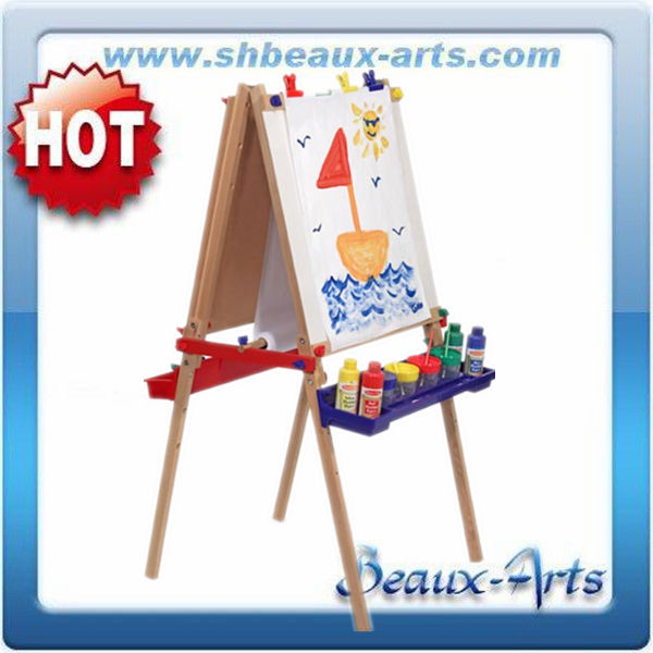 basswood children's easel with magnetic board with plastic trays
