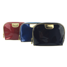 Custom luxury fashion shiny bling leather pu cosmetic bag