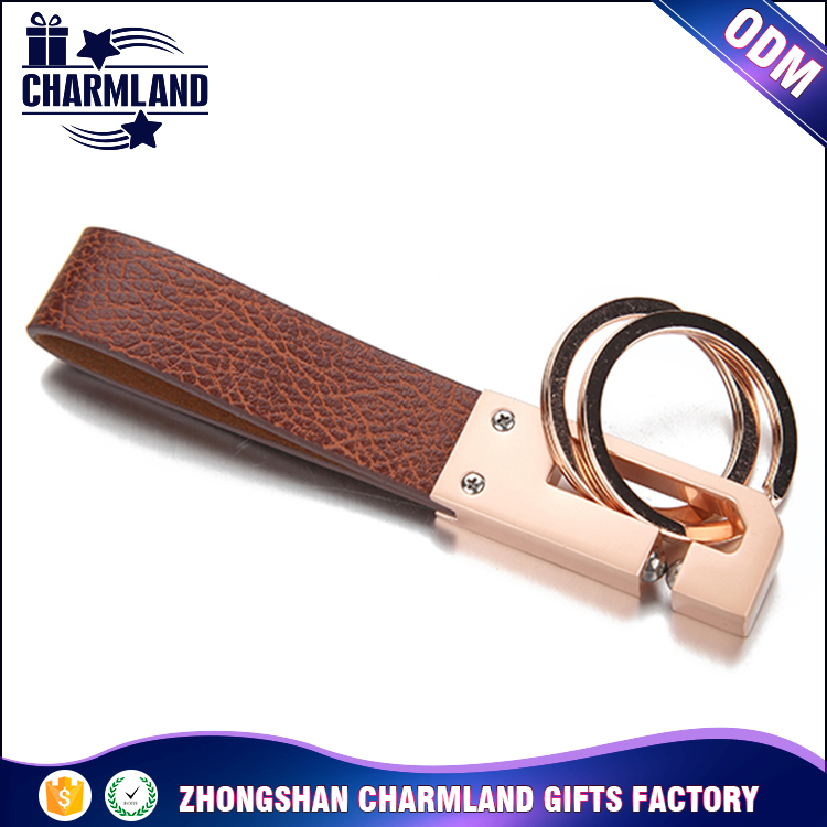 Newest factory wholesale mix color Loop custom personalized Men's Leather Keychain