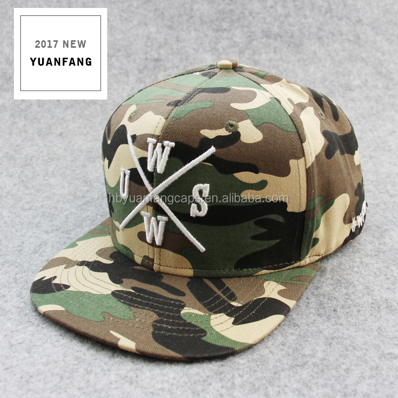 China New High Quality Custom Camo Flat Hip Hop Snapback Hats/Caps Wholesale
