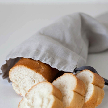 Grey linen baguette bread food storage reusable keeper drawstring bag