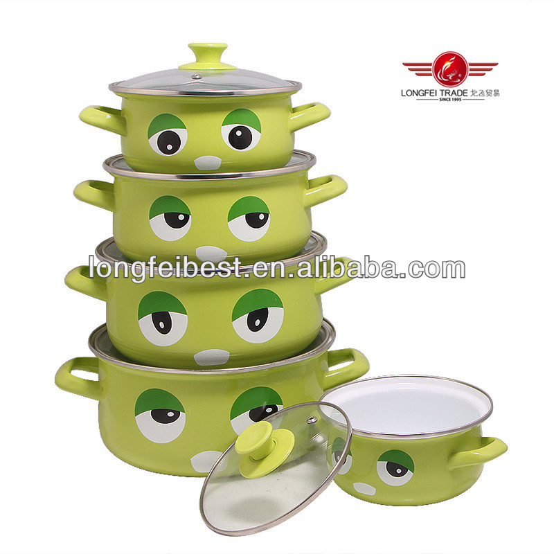 Green color enamel casserole with decal, enamel stock ware