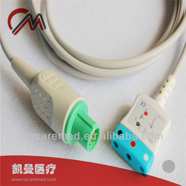 Compatible GE Hellige 3 lead ecg trunking cable,CE certificated