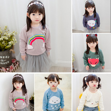 Hot Sale Cute Girls Round Neck Fashion Girls Pullovers Printed Boutique Kids Pullover