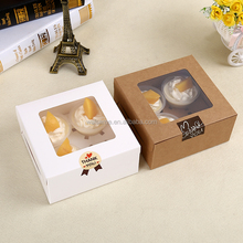 Paper Kraft Cupcake Packaging Box For Cake window clear plastic cupcake boxes with handles