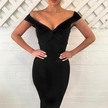 2018 Europe and America station lady wish hot four color sexy deep V dress dress cross-border business explosion fund