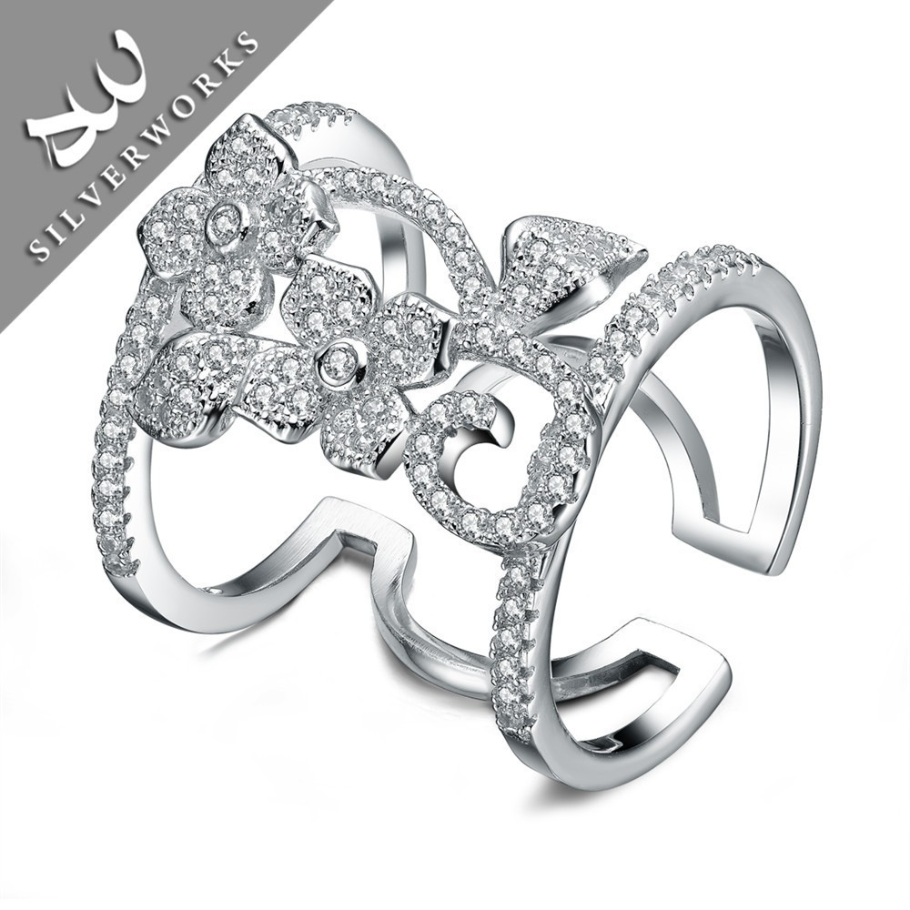 Flower Shaped Fine Jewelry Big Long Fashion knuckle Ring Finger Rings Photos