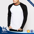 Shandao OEM New Casual Summer Men Bulk Order Long Raglan Sleeve O-neck White Black Patchwork 180g 100%Cotton T-shirt