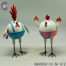 handmade metal animal decorative craft of two happy chicken for home decor