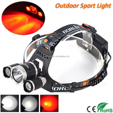 Boruit Brand Rechargeable Red Light LED Hunting Headlamp