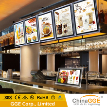 Acrylic material crystal backlit menu board light box signs for restaurant display