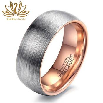 Tungsten Ring Anti-Allergy 8mm Tungsten Carbide Wedding Band Ring Brushed Silver Inner IP Rose Pink Plating Comfort Fit