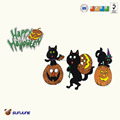 Playful Pumpkin & Black Cat Window Cling/Halloween Wall Art