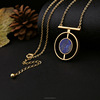 Qingdao quality simple gold chain jewelry,chunky necklace purple gemstone rould pendant necklace(PR1030)