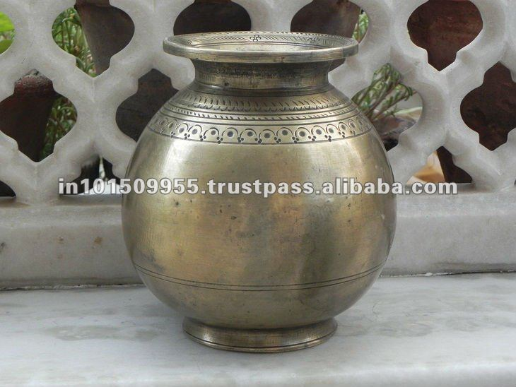 Indian Art Villa brass Matka Pot Round Shaped Water Storage Drinkware on india art palace