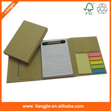folded hard cover with combination sticky notes,memo pads with pen/ruler/name card holder
