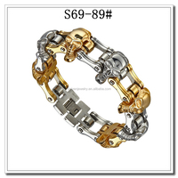 stainless steel motorcycle chain bracelet with 7 pcs skull