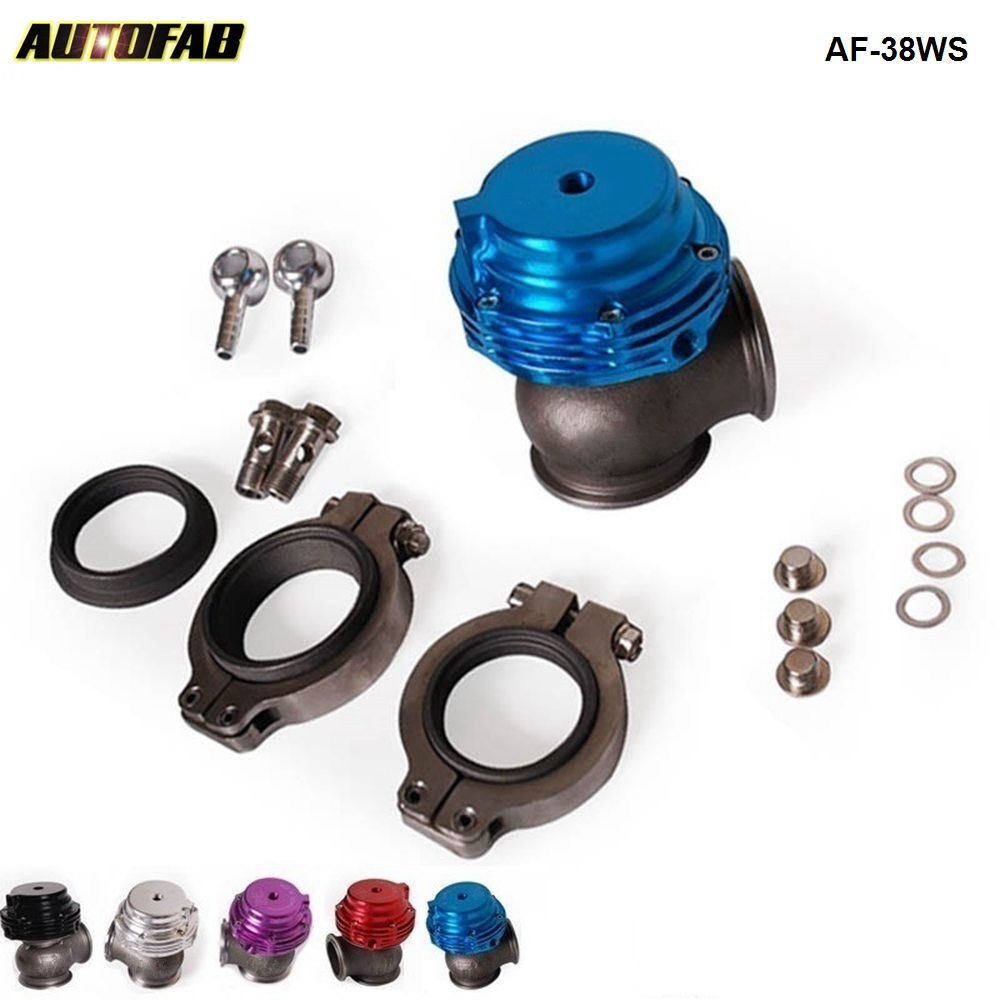 AUTOFAB --Jdm Racing Blue MVS 38mm V-band Turbo Watergate Racing Performance <strong>External</strong> Waste Gate Turbo Manifold AF-38WS