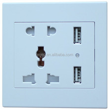 Factory price New design 250V 13A universal multifunction electric power europe micro dual usb wall socket with CE,ROHS