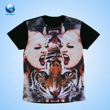 Big World China supplier High quality 3D animal sublimation printing T shirt wholesale with cheapest price