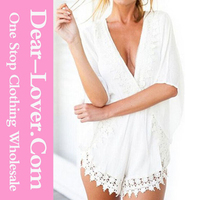 2015 New arrival White Crochet Lace Trim Plunging one piece Jumpsuit