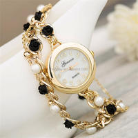 2014 best selling products fashion ladies hand chain bracelet watch with pearl and rose