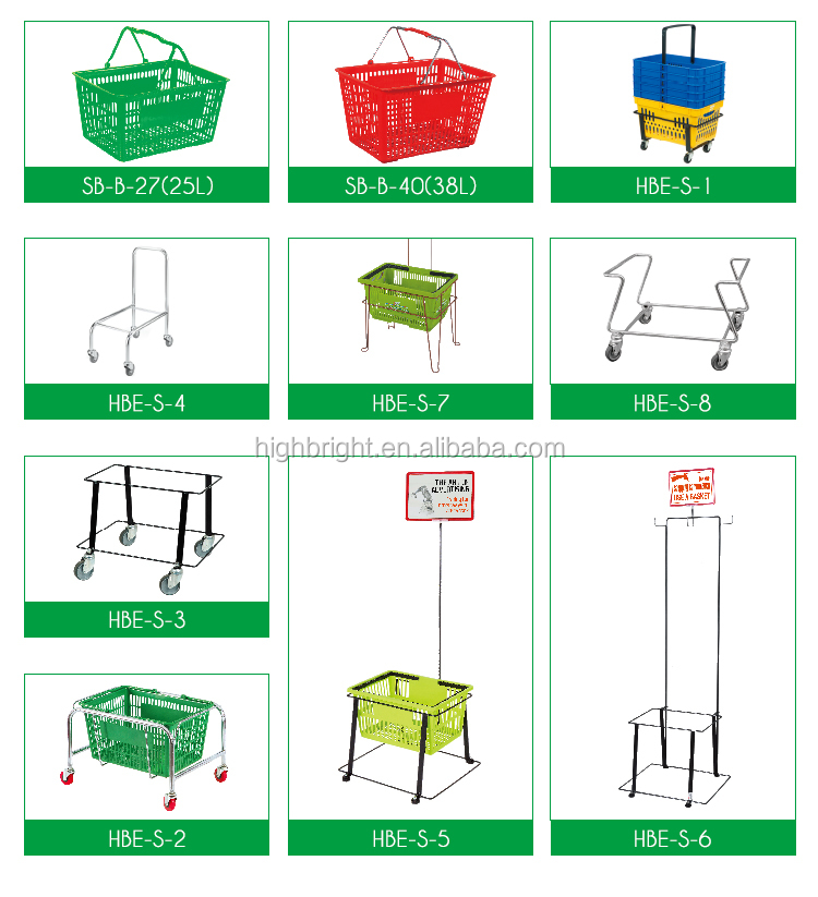 Supermarket grocery store plastic shopping basket with handles