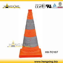 Fabric Traffic Cone with high visibility reflective safety tape