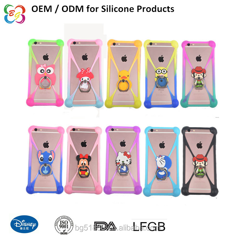 Factory price customized high quality silicone rubber phone ring stand/phone case