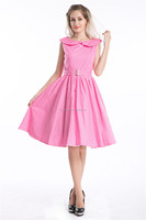 Hot Sale Ladies Fashion 1950s Rockabilly VINTAGE evening dress PINK R1010