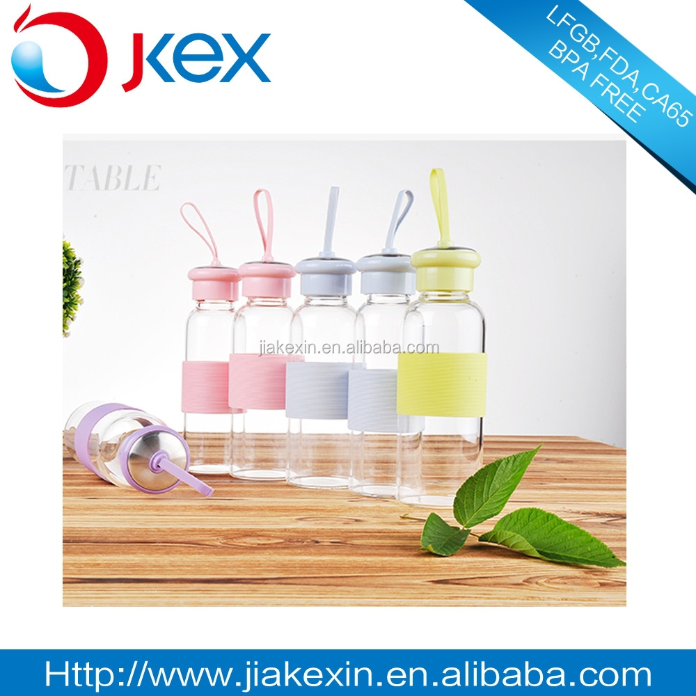 Portable color banded bottle glass bottle with silicon sleeve