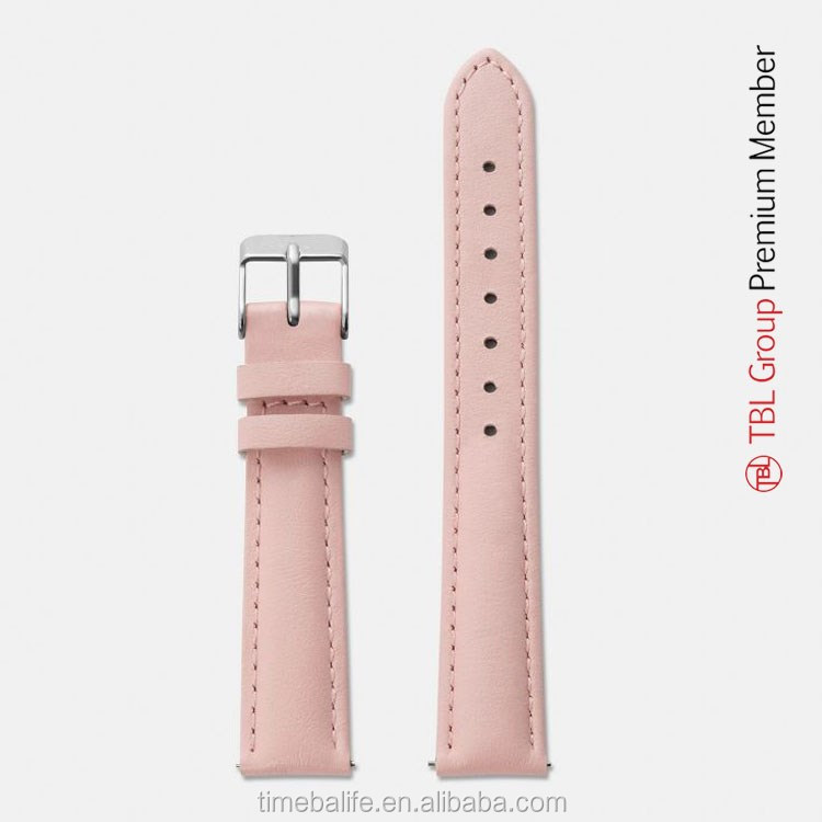 2016 Custom Pink Genuine Leather Stitched Interchangeable Genuine Leather Watch Strap Bands