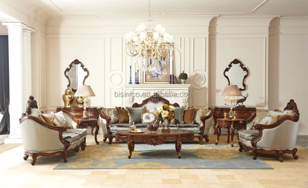Royal Palace Hand Carved Furniture Of House/Perfect Color Matching Leather and Fabric Sofa Couch/Living Room Sofa Set