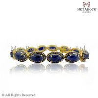 Wholesale 14k Gold Pave Diamond Blue Sapphire Gemstone Bracelet, Gemstone Diamond Bracelet, Supplier Designer Bracelet