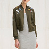 anly handsome jacket for women fancy patch stand embroidery joint zip short jacket