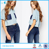 Unique Design Girls Crop T-shirt Contrast patch pockets and Concealed button placket LC7055-G