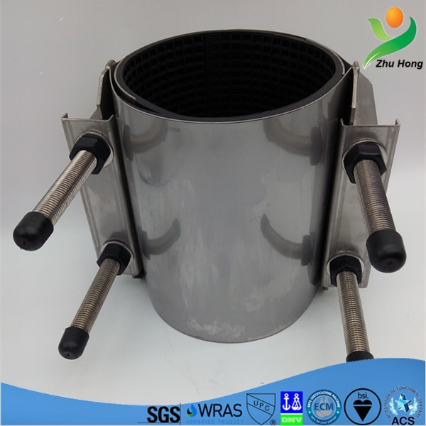 CR-2 water supply pipeline repair clamp joint/double band rubber lining metal material pipe coupling