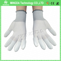 Factory bulk order antistatic safety gloves , Antistatic PU Finger Coated / ESD Gloves with high quality