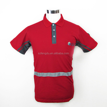 Reflective stripe red uniform polo shirt for men