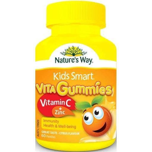 Nature's Way Kids Smart Vita Gummies Vitamin C & Zinc 60 Pastilles Gummies (Immunity Health & Well Being) Citrus Flavour