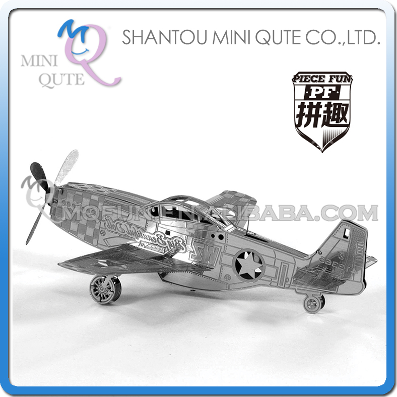 Piece Fun 3D Metal Puzzle military P-51 Mustang helicopter Adult assemble model educational toys NO GLUE NEEDED NO.PF 9114