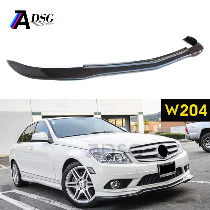 Carbon fiber front lip spoiler for Mercedes C class w204 facelift with C63 bumper