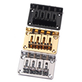 4-string Hard-tail Bridge for Cigar Box Guitar Electric Ukulele & More ,Chrome/Black/Yellow