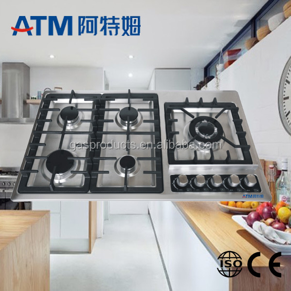 stainless steel 5 burners gas hob