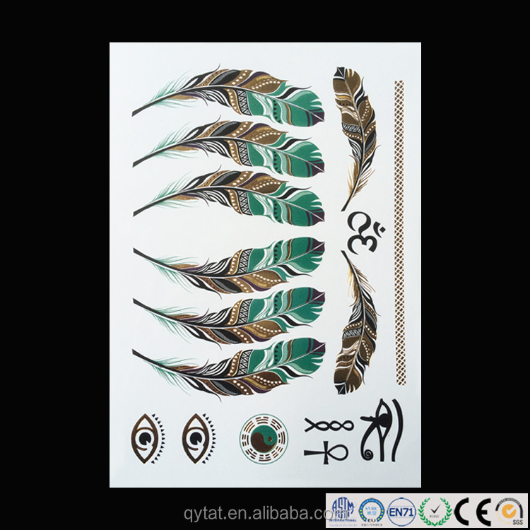 Custom Metallic Foil Gold Stickers Temporary Tattoo