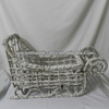 Rustic antique white large twigs snow sled Christmas decorative sleigh