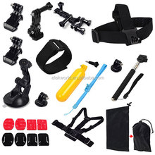 11-in-1 Suction Cup+Chest Strap+Head Strap+Wrist Strap+Mounts+Monopod+Floaty Grip+Stickers+Pouch for GoPros He ro 4/3+/3/2/1